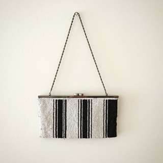 MIMCO Black And White Beaded Clutch