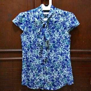 Executive Blue Floral Blouse