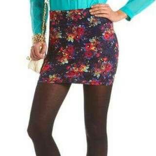 Multi Printed lace mini-skirt
