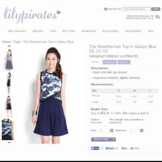 Lilypirates The Weatherman top In Galaxy Blue M