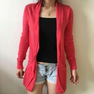 Ninety Degrees Pink Long Cardigan