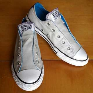 <再降價> 近全新 超好看不撞鞋 All Star Converse 灰白色 非綁帶 休閒鞋 帆布鞋