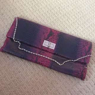 Purple Clutch With Detachable Chain