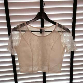 Lace Cropped Top (White)