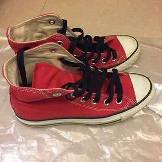 CONVERSE ALL STAR 紅色 高筒 女鞋us6.5