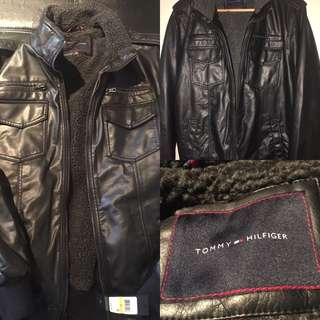 New W Tags Tommy Hilfiger jacket faux leather 4-pocket USA military bomber jacket. Size: M