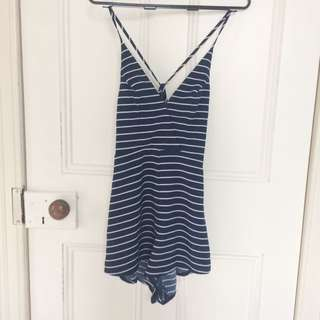 Blue/white Striped Playsuit