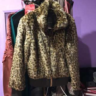 豹紋毛夾克大衣
