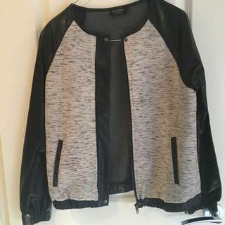 Grey And Faux Leather Jacket
