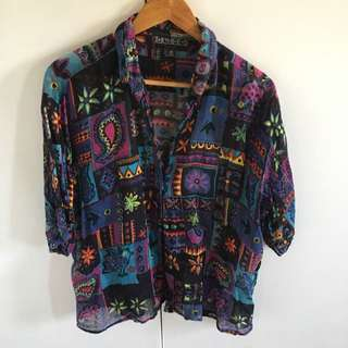 SOLD PENDING - Colourful Festival Shirt 8-14