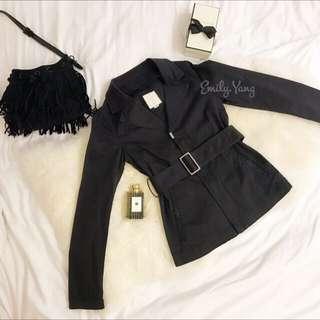 Diesel拉鍊黑色刺繡風衣外套