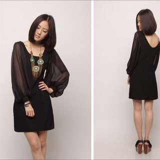 Lacepipe Sheer Sleeve Black Dress