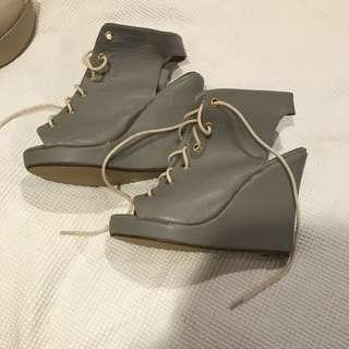 Grey Tie Up Wedges