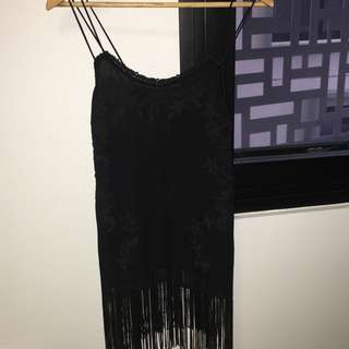 Zara Long Black Fringed Top