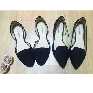 Black Suede Pointed Loafers Flats 2 Pairs Sz 6
