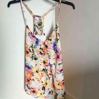 Floral Cross Back Top