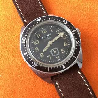 Ankra 49 Antichoc Vintage Military Diver Watch With Sub-seconds