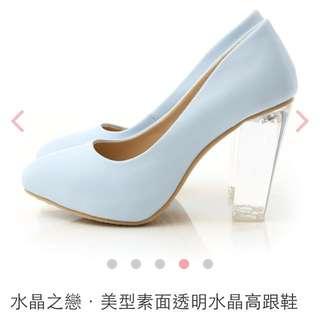 D+AF 高跟鞋 /水晶之戀·美型素面透明水晶高跟鞋 二手 近全新 灰姑娘 公主 迪士尼