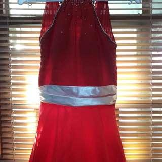 Red Chiffon Long Gown
