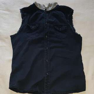 FACTORIE: Navy Blue Denim Vest With Hood