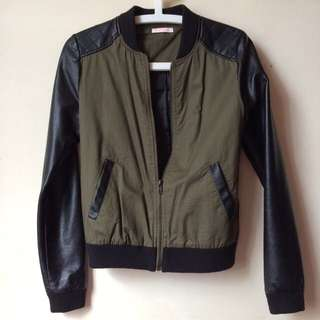 Khaki Leather Jacket (size 8)