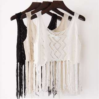 [PO] Cropped Fringe Lace Crochet Overlay Top