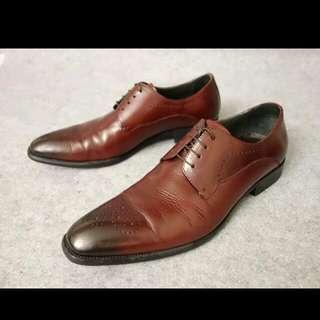 NT$1980含運【二手】 喬治 George 深紅咖色 真皮英倫鞋 41號