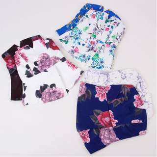 [PO] Floral Tube Off Shoulder Crop Blouse Top