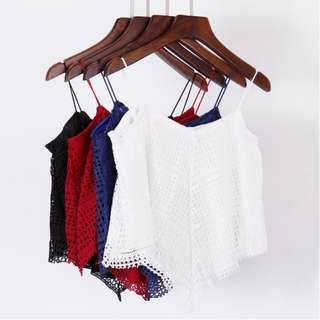 [PO] Crochet Lace Flutter Spaghetti Crop Blouse Top