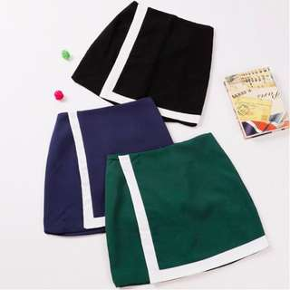 [PO] Outline Asymmetrical Overlay Origami Skirt