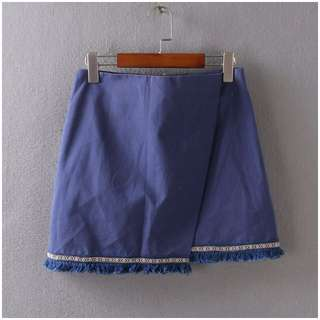[PO] Tribal Outline Asymmetrical Overlay Origami Skirt
