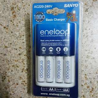 Sanyo Eneloop Basic Charger With 1900mAH NiMH Rechargeable Battery