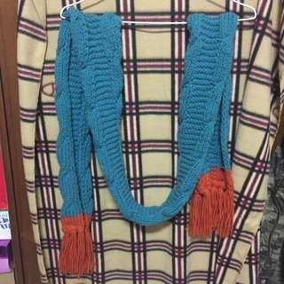 藍橘粗針圍巾