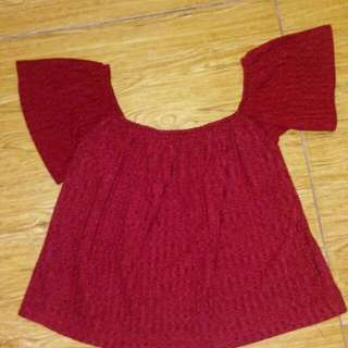 Repriced!!! Ribbed Off Shoulder Blouse