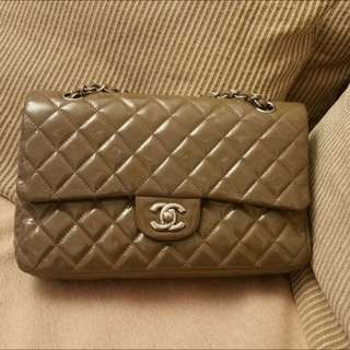 [CHANEL] Authentic Taupe Classic Medium Patent Double Flap