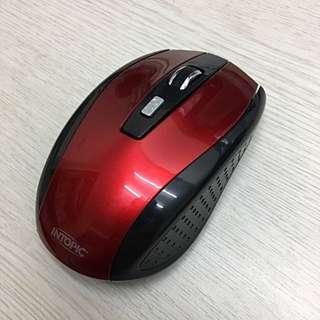 無線滑鼠 黑紅色INTOPIC