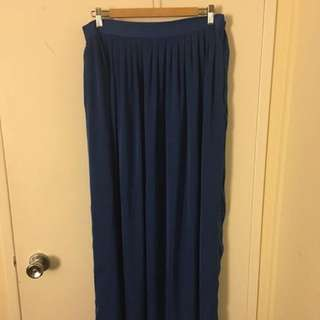 BCBG Maxazria Electric Blue Silk Maxi Skirt