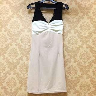 FREE SHIPPING! Halter dress brown white sleeveless