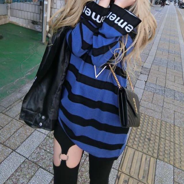 藍色條紋長版衣
