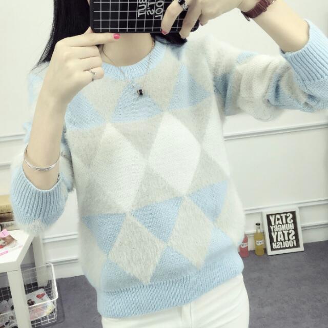 冬季格子毛衣