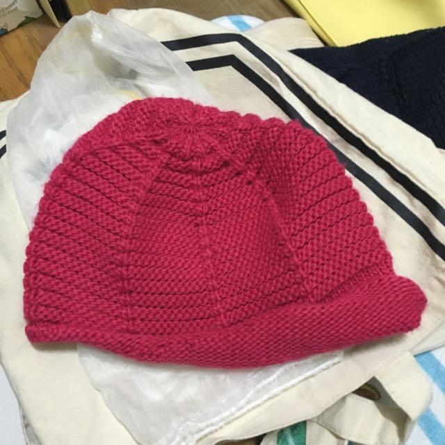 🚺桃紅針織毛帽~超好搭的不限頭型哦✅原購於專櫃