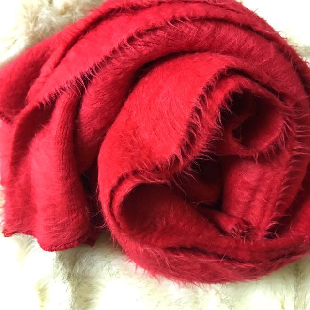 紅色 毛毛圍巾