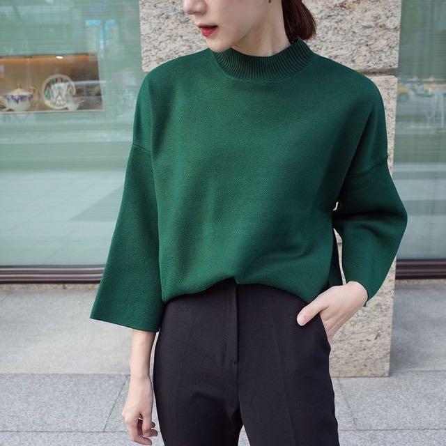 小高領寬袖針織毛衣(綠)