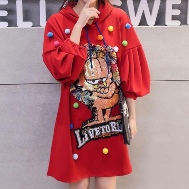 韓版泡泡袖洋裝