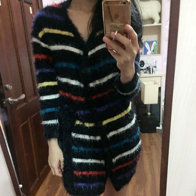 彩色條紋針織綁帶外套