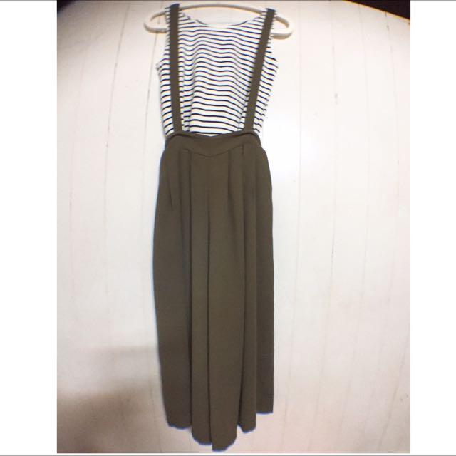 橫條背心/綠 吊帶褲裙