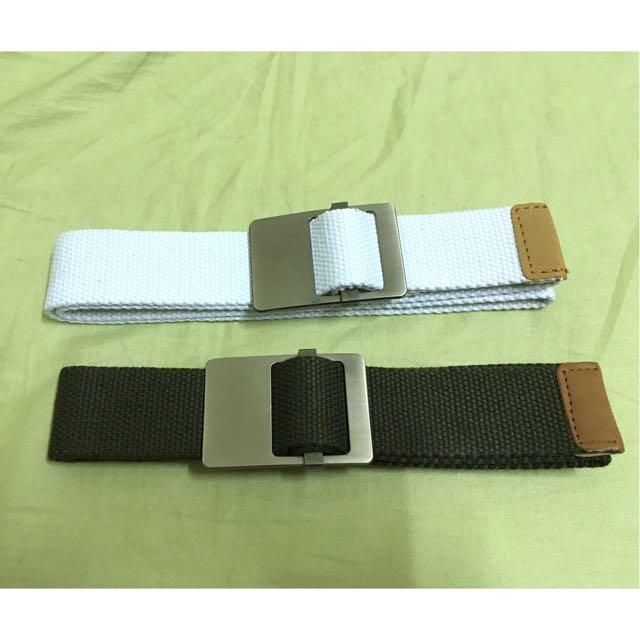 復古 軍綠 白 布 編織 皮帶