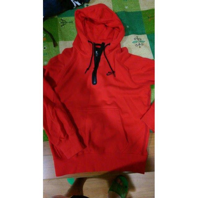 再降!賣少穿 ,NIKE  AW77 輕量高科技 3/4HOODIE  保暖帽T 紅色,size:M