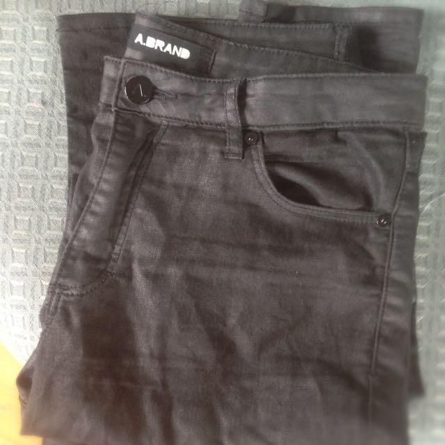 A BRAND Black Skinny Jeans - Metallic Finish