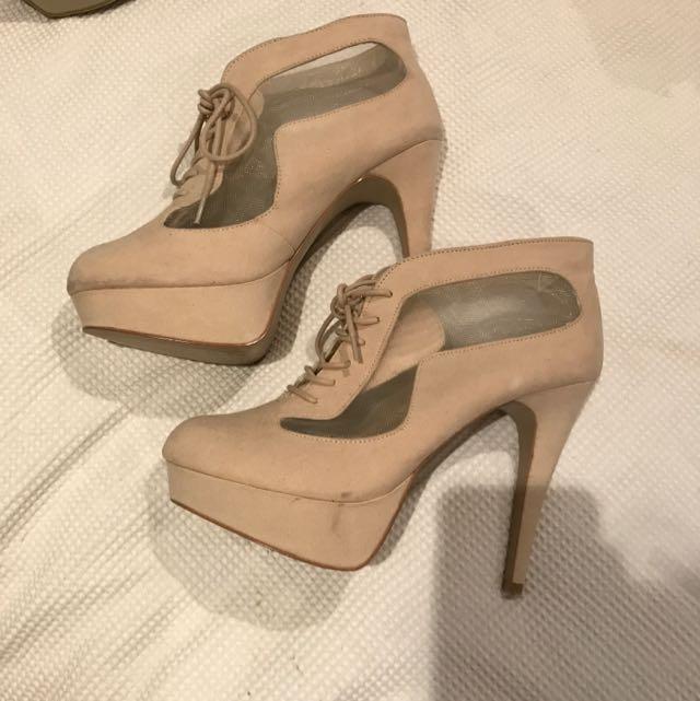 Beige Suede Heeled Boots